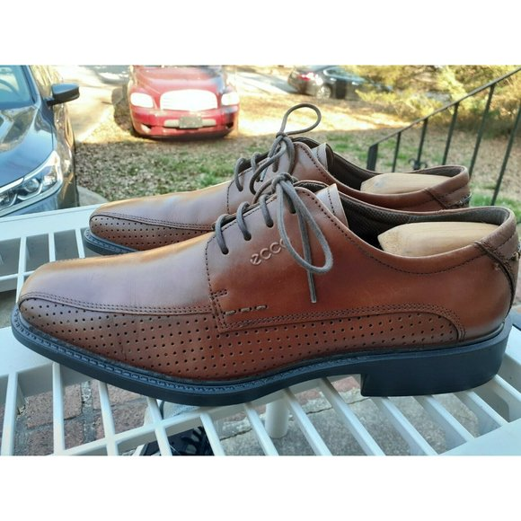 Ecco Men's Derby Brown Leather Lace Up Oxfords